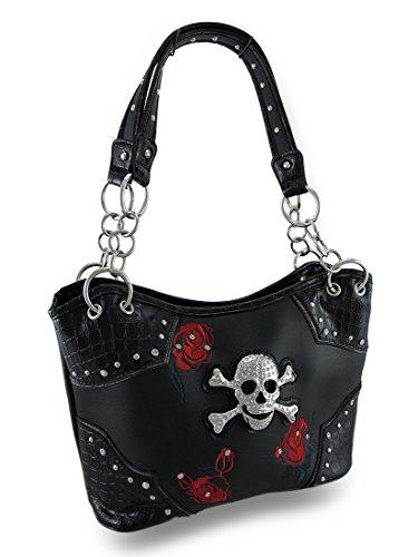Vinyl Womens Shoulder Handbags Black Bucket Style Handbag With Embroidered Roses And Rhinestone Skull Black