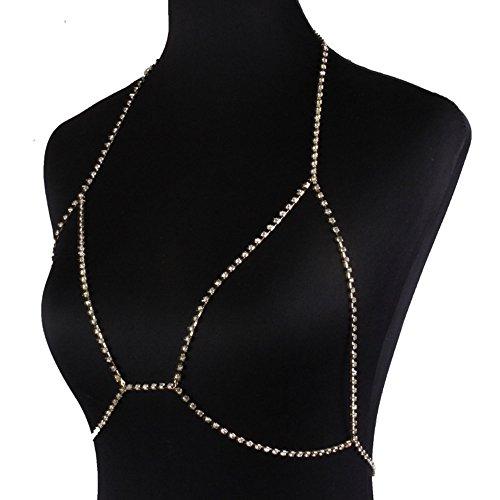 Shlonger Womens Fashion Rhinestone Bra Chain Choker Necklace Sexy Harness Bikini Body Chains Jewelry Gold