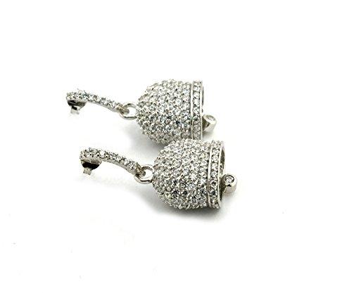 Boucles d'oreilles cloche zirconati en argent 925sterling plaqué or blanc, dimension 16x 11mm fermeture à papillon hypoallergénique