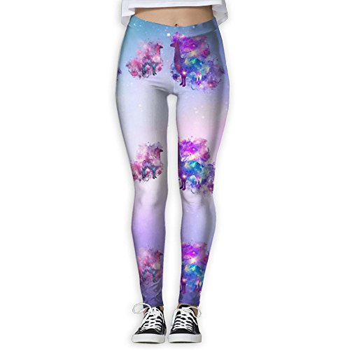 (Galaxy LLAMAS Women's Stretchable Sports Running Yoga Workout Leggings Pants M)