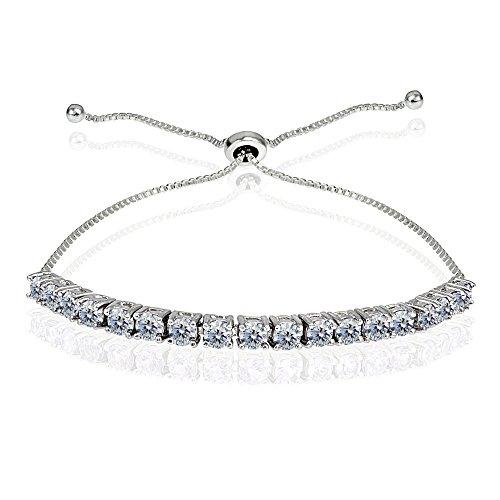 Sterling Silver 3mm Round-cut Bolo Adjustable Bracelet made with Swarovski Crystals