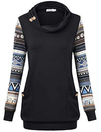 Geometric Print Top (Faddare Geometric Print Top, Ladies Goting Out Colorblock Slit Pocket Tunic Tops For Women,Black XL)