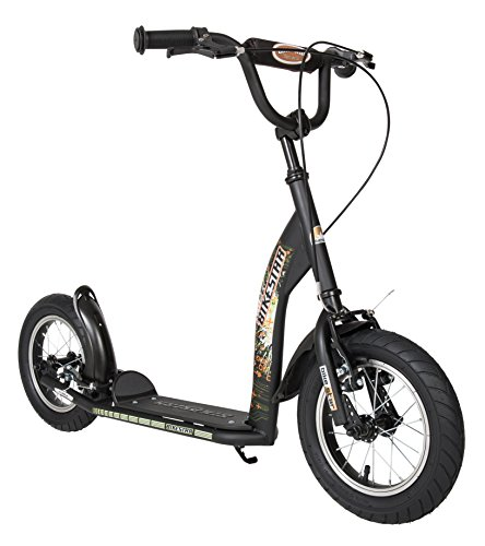 BIKESTAR Original Safety Pro Sport Push Kick Scooter Kids with brakes, mudguard and air tires for age 7 year old children | Sport Edition with Alloy Wheels 12 Inch | Diabolic Black