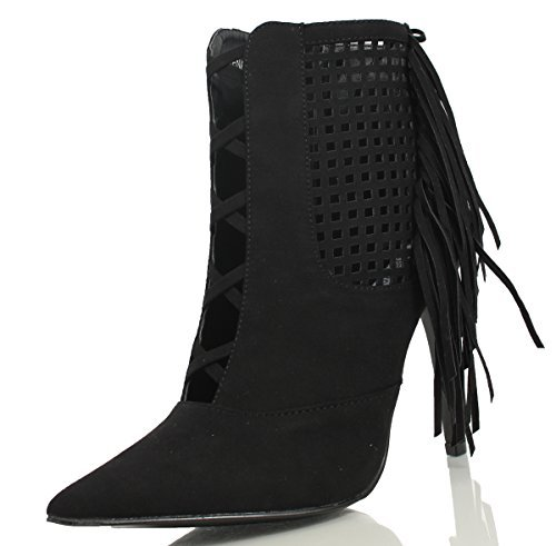 Cape Robbin Artena Mujer's Faux Suede Lace Up Mesh Side Panel Fringe Pointed Toe Pump Negro