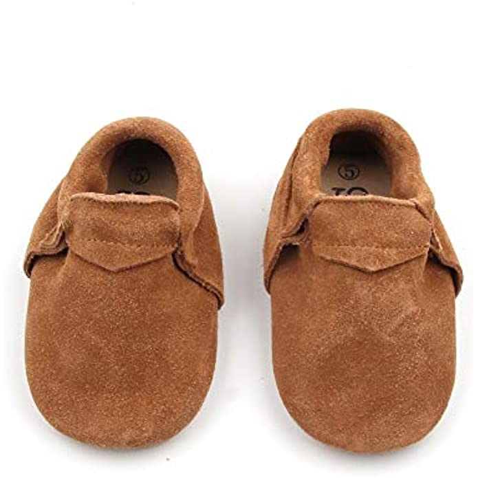 Starbie Baby Moccasins, 25+ Colors, Baby/Toddler Shoes Made with Genuine Leather & Anti-Slip Soles, Boys & Girls Baby Shoes