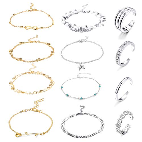 FUNRUN JEWELRY 12PCS Anklet and Toe Ring Set for Women Girls Beach Ankle Bracelets Adjustable Open Toe Ring Foot Jewelry (Color A)
