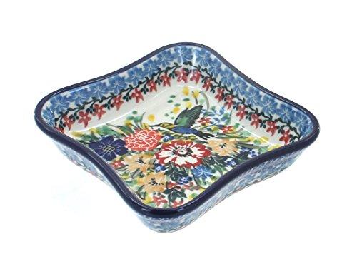 - Blue Rose Polish Pottery Hummingbird Small Square Dish