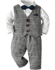 COTRIO Baby Boys Waistcoat Gentleman Outfits Suit Tuxedo Bowtie Long Sleeve 3 Pieces Wedding Formal Clothes