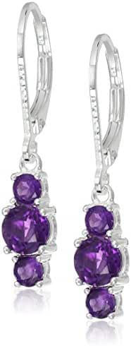 Sterling Silver Genuine and Lab-Created Gemstone Three-Stone Leverback Dangle Earrings
