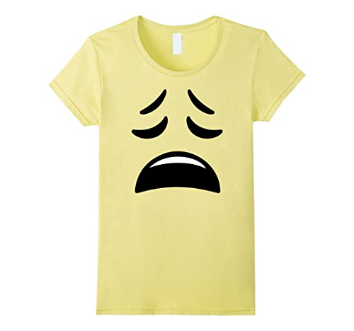 (Women's Emoji Weary Face Not Smiling Close Eyes Smiley Tee T-Shirt Small)