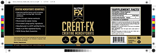 NutraFX Micronized Creatine Monohydrate Powder All Natural Pre Workout Energy Boost and Muscle Building Supplements (300g - 60 Servings) (2-Pack)