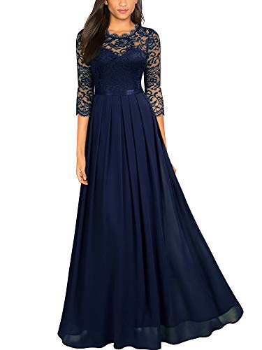 Miusol Women's Formal Floral Lace Wedding Bridesmaid Maxi Dress,Small,Navy Blue