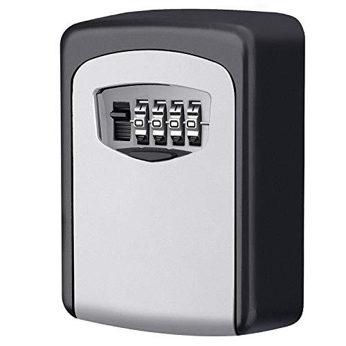 KeeKit Key Lock Box, 4 Digit Combination Lock Box, Wall Mount Key Storage Box, 5 Key Capacity for The Keys of Car, House, Warehouse and Office - Silver