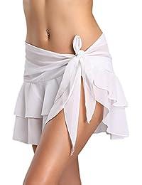 YACUN Women Beach Cover Up Sarong Ruffle Skirt Swimsuit Wrap