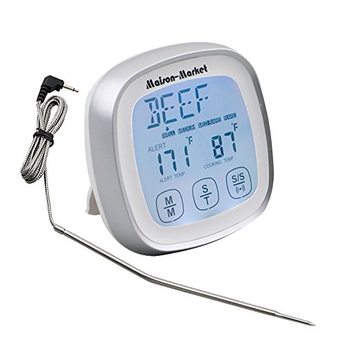 Digital Meat Thermometer Touch Screen Fast Reading Accurate Thermometer, Versatile Timer Alarm for Kitchen Cooking Grill Barbecue Smokers Oven, Maison-Market