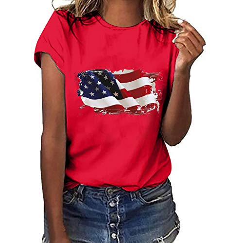 Kulywon Women Plus Size Independence Day Print Short Sleeve Round Neck T-Shirt Summer Tops 2019 Red -