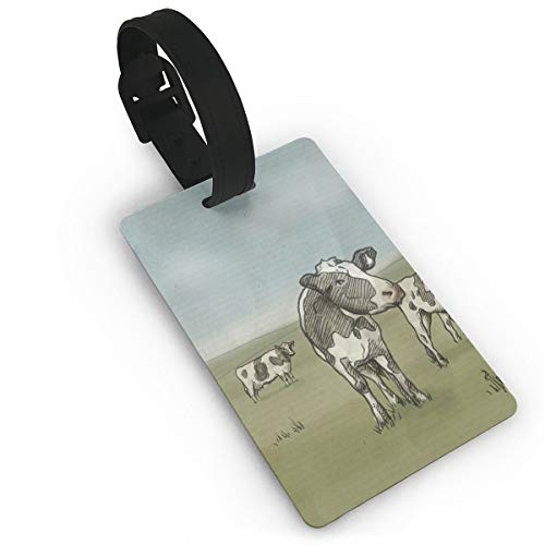 Diemeouk Luggage Tags for Suitcases Cows Grass Green PVC Baggage Cards for Cruise Ships ()