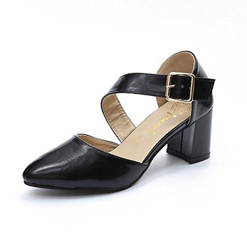 avec Confort Bloc à US6 Blanc de Foncé Sandales Chaussures Black Chaussures D'Été Noir EU36 Talon Femmes CN36 Lacets DIMAOL UK4 Pour Un PU Boucle Brun vqt01H7ww