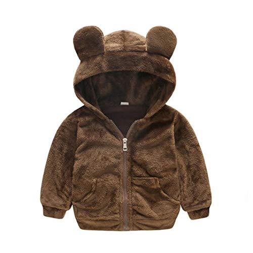Dinlong Autumn Winter Long Sleeve Hooded Girls Boys Kids Baby Solid Outwear Cloak Zipper Bear Cute Fleece Jacket Thick Fur Warm Coat Clothes for Toddler Infant Children (Brown, 2-3 Year) ()