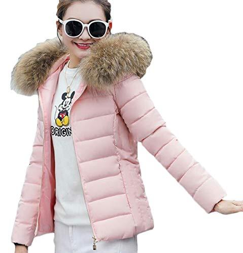 Women's EKU Collar Pink Quilted Jacket Short Puffer Warm Faux Fur Zipper Down Coat Thicken HwqSfRq