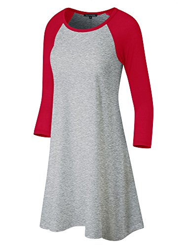 FACA Womens Baseball 3/4 Raglan Sleeve Jersey Tunic Dress (Small, H.Grey/Red)]()