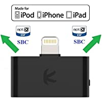 KOKKIA i10L aptX : Digital Bluetooth Splitter Transmitter with switchable aptX/SBC codecs. Compatible with iPhone, iPad, iPod Touch with 8-pin Connector.