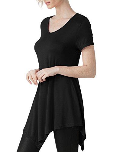Elbon Boutique Womens Short Sleeve Scoop Neck Solid / Tie Dye Tunic Top BLACK 2XL (80s Fancy Dress Plus Size)