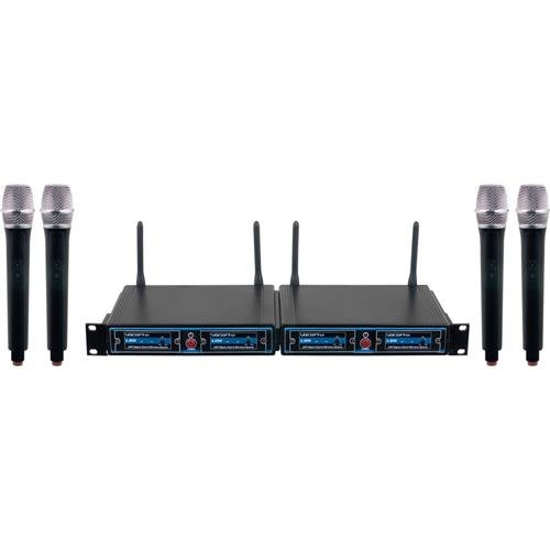 4 Channel Handheld (VocoPro UDHCHOIR4 FOUR CHANNEL UHF HandHeld Wireless Microphone Package with Mic-on-chip technology)