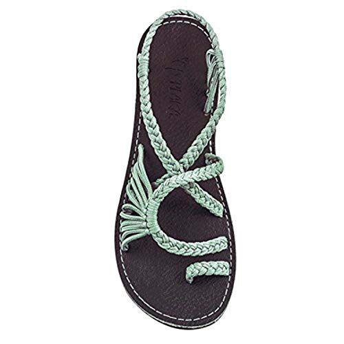 7 Colors Women's Strappy Flat Sandals Handmade Braided Soft Sole Flats Green