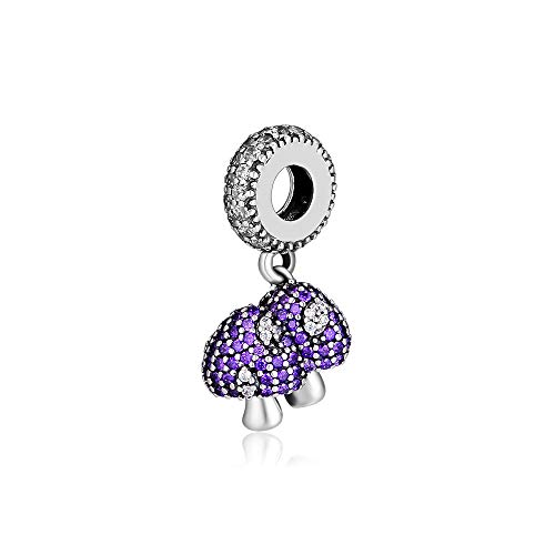 (CKK DIY Fits for Pandora Beads Bracelets Necklace❤925 Sterling Silver Jewelry❤Dangle Charms Purple Siamesed Mushroom Pendant for Women Girls )