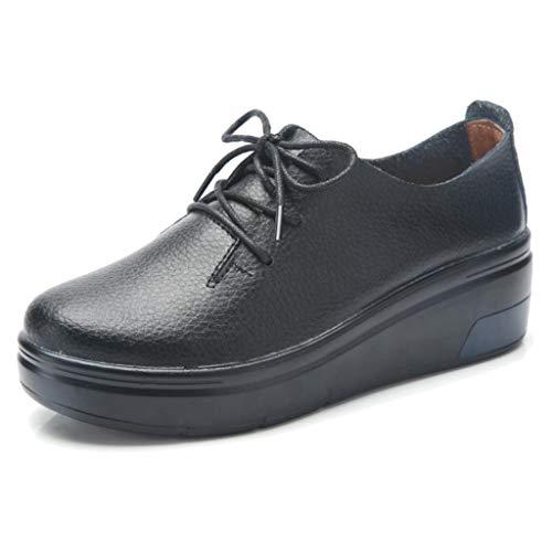 Derbies Femme Plateforme Cuir Semelle Lacets de en à Noir Derby Compensée Ville Chaussures TRULAND xzYq48q