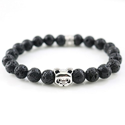 New Hot Sale Silver Plated Panda Charm Bracelets & Bangles Agate Stones Beads for Men Women Fashion Jewelry