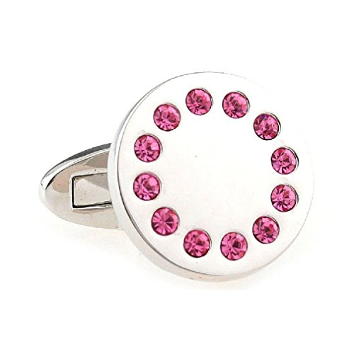MRCUFF Round Pink Crystals Pair Cufflinks in a Presentation Gift Box & Polishing ()