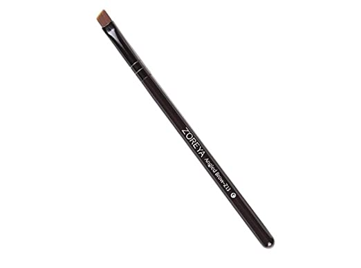 DUSENG Black Wooden Handle Angled Eyeliner Eyebrow Brush Brown Beauty Cosmetic Tool about 12.8cm