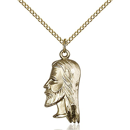 Gold Filled St. Christopher Pendant 7/8 x 3/8 inches with Gold Filled Lite Curb Chain by Bonyak Jewelry Saint Medal Collection