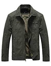 Heihuohua Men's Flat Collar Lightweight Cotton Military Jacket