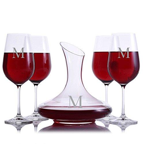 Custom Mozart Crystal Wine Decanter 5pc. Stemmed Set Engraved & Monogrammed (Custom 5 Piece Set) by Crystalize