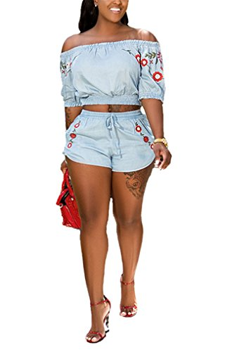 Womens Summer Two Pieces Outfits Bodycon Half Sleeve Floral Crop Tank Top Shirt Hot Pants Set Club Shorts Boho Maxi Party Club Dress Blue XL