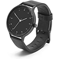 BIJOUONE B302 Black Dial Stainless Steel Swiss Quartz Analog Black Leather Watch, Matte Black Case