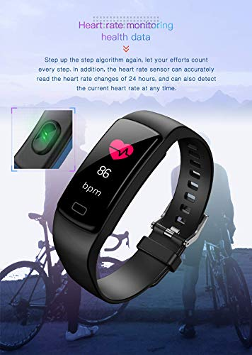 Unisex Fitness Tracker Waterproof Smart Bracelet USB Rechargeable Activity Tracker Watch with GPS Sleep & Heart Rate Monitor Step Calorie Counter Pedometer Call Notification Message Reminder