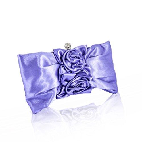 zarla nuevo mujeres satén floral embrague diamante Mujer Noche Bolsa De Novia De Fiesta Prom UK Morado - morado