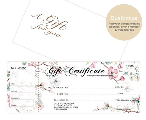 Custom Gift Certificates Cards with Envelopes 100 set -Gift-Blossoms- Gift Coupons,Vouchers for Small Business, Spa, Makeup, Hair Beauty Salon,Restaurant,Wedding Bridal,Baby Shower,Christmas,Birthday ()