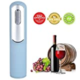 UARTER Electric Wine Opener with Foil Cutter and Vacuum Wine Bottle Stopper Rechargeable, Automatic Corkscrew Openers with USB Charging Cable - Blue