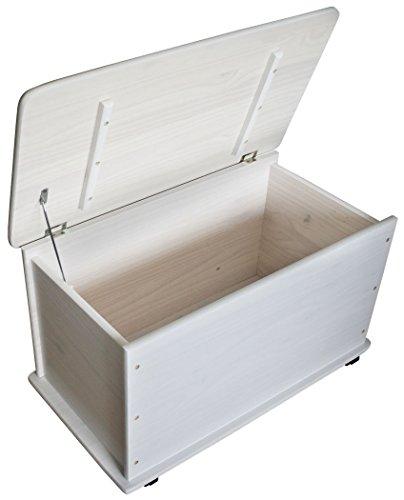 KMH, Caja de juguetes de madera de pino macizo con ruedas (blanco) (#800057)