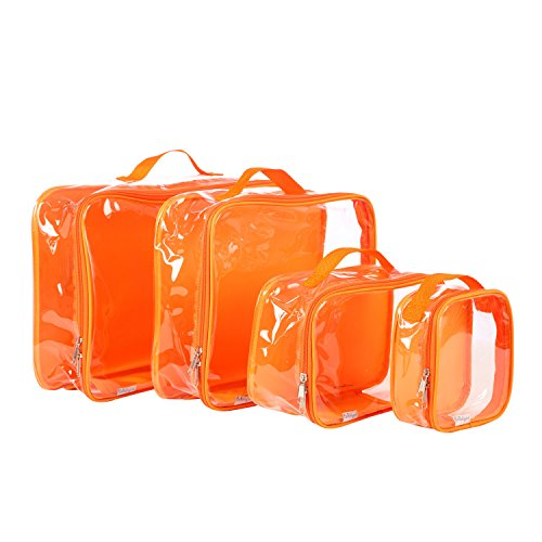 Clear Packing Cubes set of 4 / Packs 7-10 Days of Clothes/Premium PVC Plastic Storage Cube