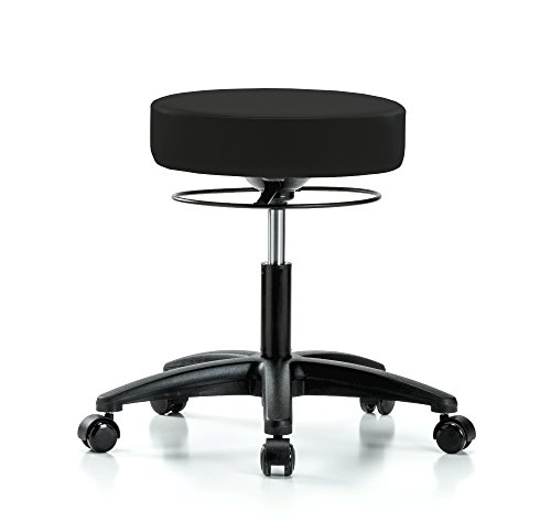 Perch Stella Rolling Height Adjustable Salon & Spa Stool for Carpet or Linoleum | Desk Height 18.5-24 Inches | 300-Pound Weight Capacity | 12 Year Warranty (Black Fabric)