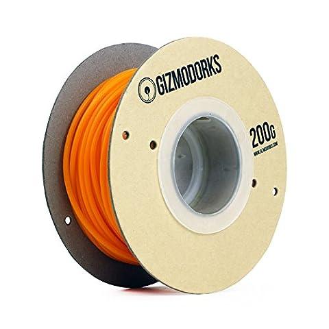 Gizmo Dorks PLA Filament for 3D Printers 1.75mm 200g, Orange - 6.5k Metal