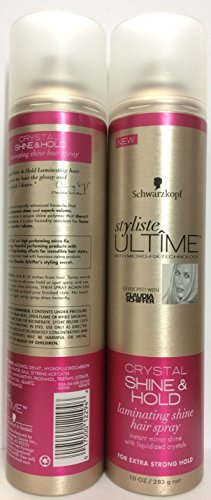 Schwarzkopf Styliste Ultime Crystal Shine & Hold Laminating Shine Hair Spray, Pack of 2 x 10 Oz.
