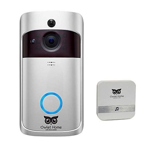 Owlet Home Smart Video Doorbell 720P WiFi Enabled Two-Way Audio/Video Night Vision Motion Detection with Indoor Chime, 2 Battery, 16GB TF Card App Control for iOS and Android, No Monthly Fee