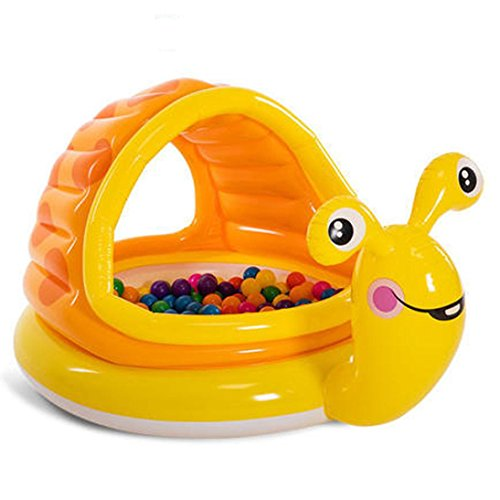 Toddler Paddling Pool with Canopy Sun Shade Swimming Inflatable Pool Anti UV Snail Shape (124x109x7cm) (Multicolor) by JPOQW (Image #1)